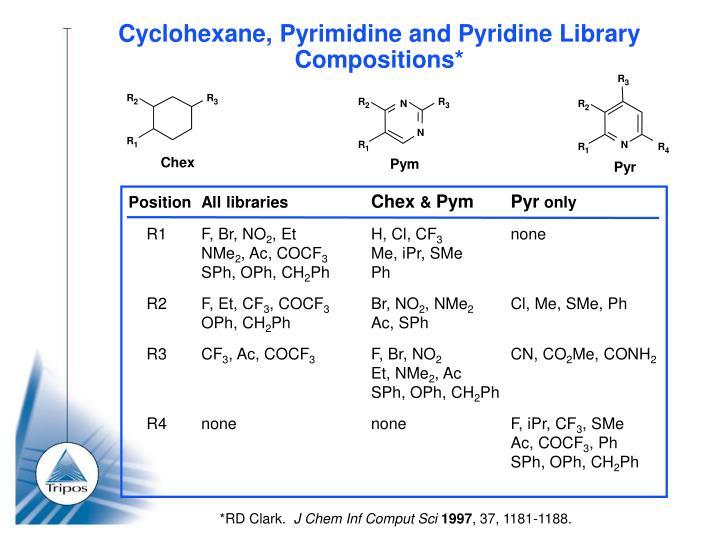Cyclohexane pyrimidine and pyridine library compositions