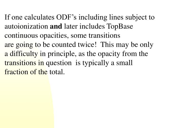 If one calculates ODF's including lines subject to autoionization