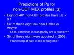 predictions of ps for non odf mex profiles 3