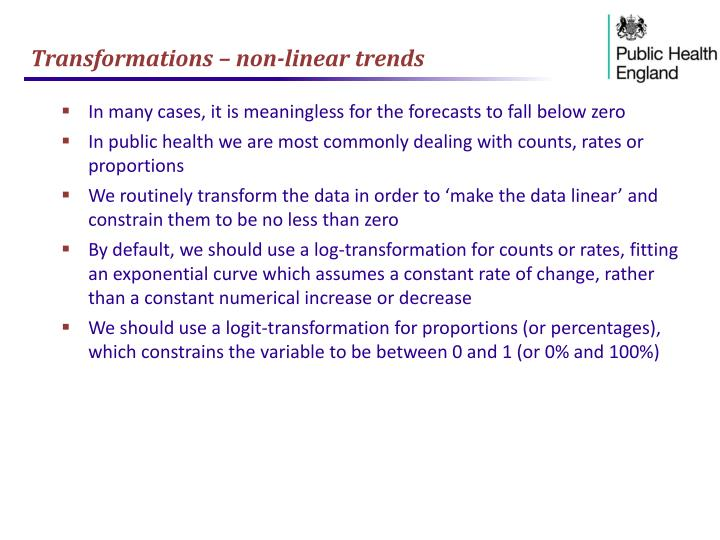 Transformations – non-linear trends