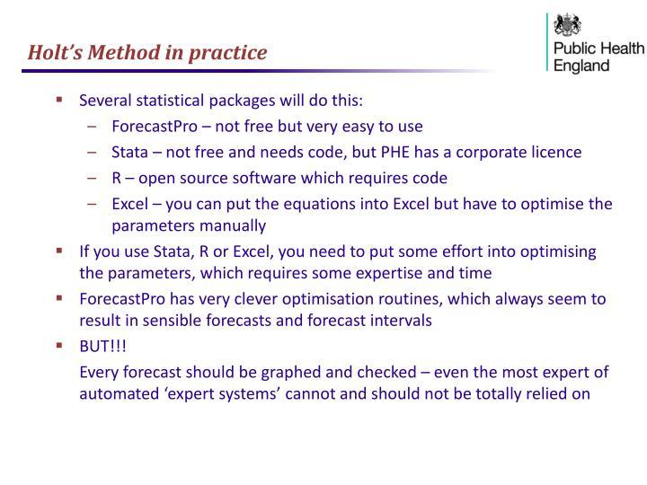 Holt's Method in practice