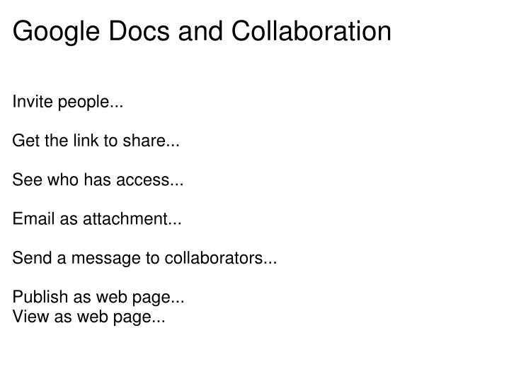 Google Docs and Collaboration