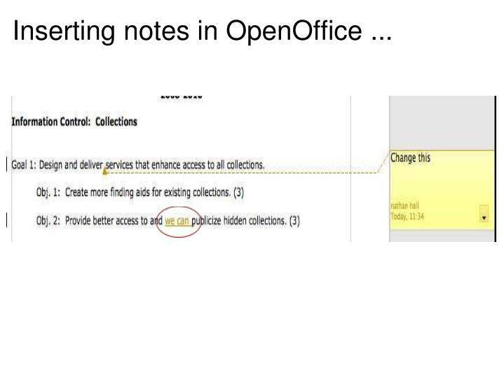 Inserting notes in OpenOffice ...