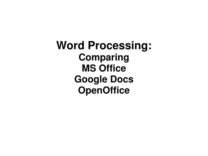Word Processing: