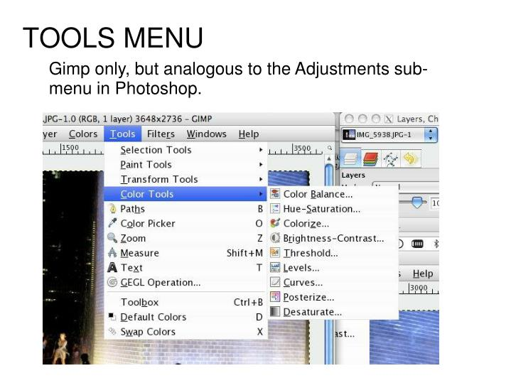 Gimp only, but analogous to the Adjustments sub-menu in Photoshop.