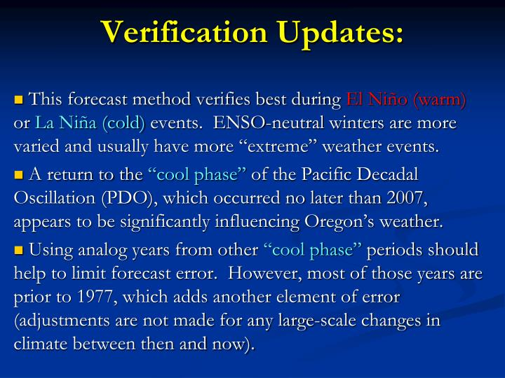 Verification updates