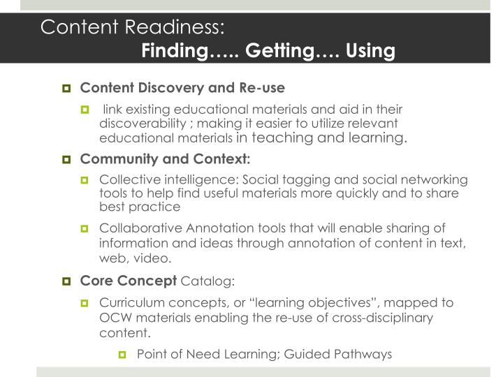 Content Readiness: