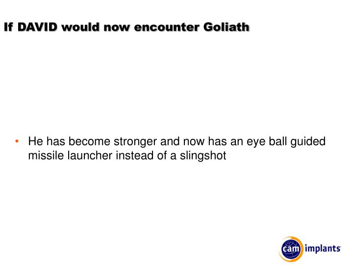 If DAVID would now encounter Goliath