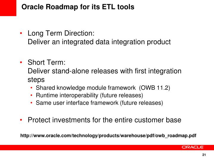 Oracle Roadmap for its ETL tools