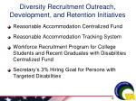 diversity recruitment outreach development and retention initiatives