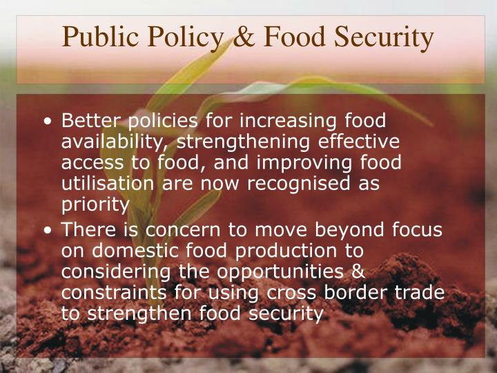 Public Policy & Food Security