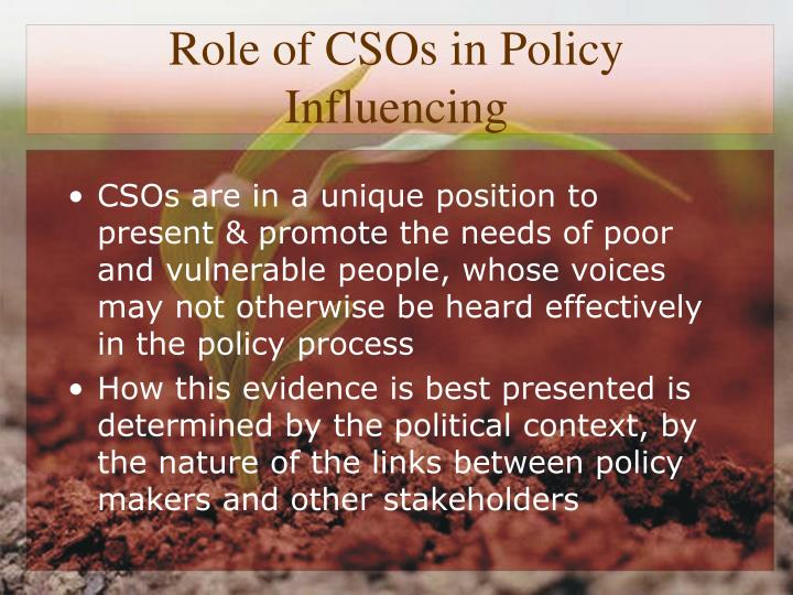 Role of CSOs in Policy Influencing