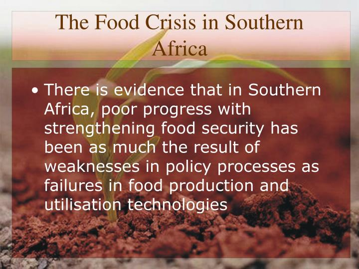 The food crisis in southern africa1
