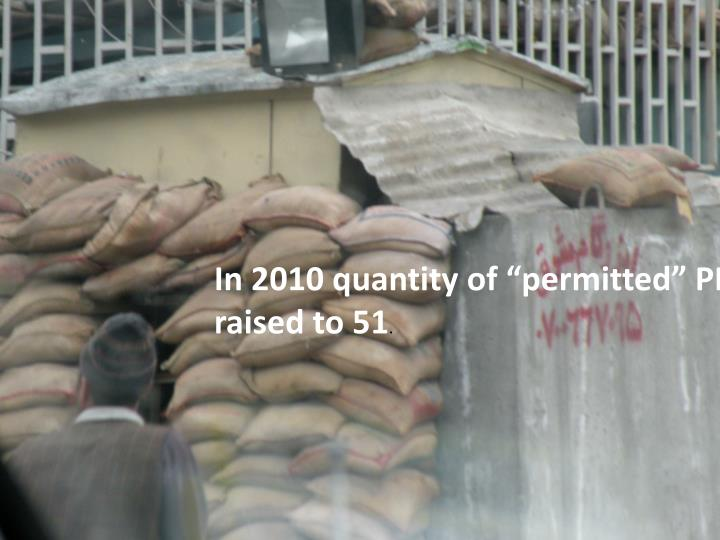 "In 2010 quantity of ""permitted"" PMSCs"
