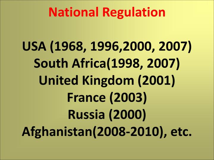 National Regulation
