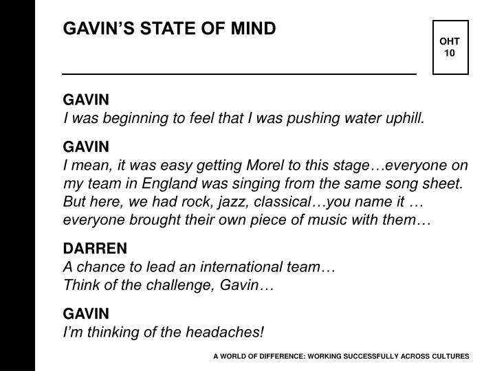 GAVIN'S STATE OF MIND