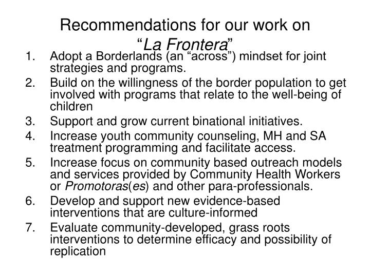Recommendations for our work on