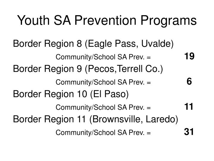 Youth SA Prevention Programs