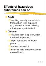 effects of hazardous substances can be