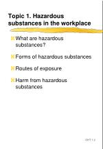 topic 1 hazardous substances in the workplace