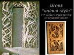 urnes animal style 11 th century wood carving on christian church