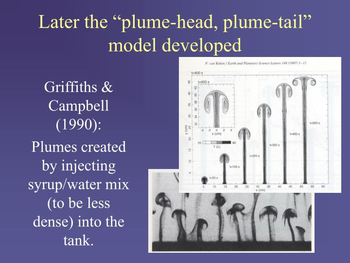 "Later the ""plume-head, plume-tail"" model developed"