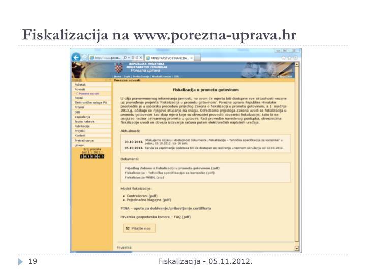 Fiskalizacija na www.porezna-uprava.hr
