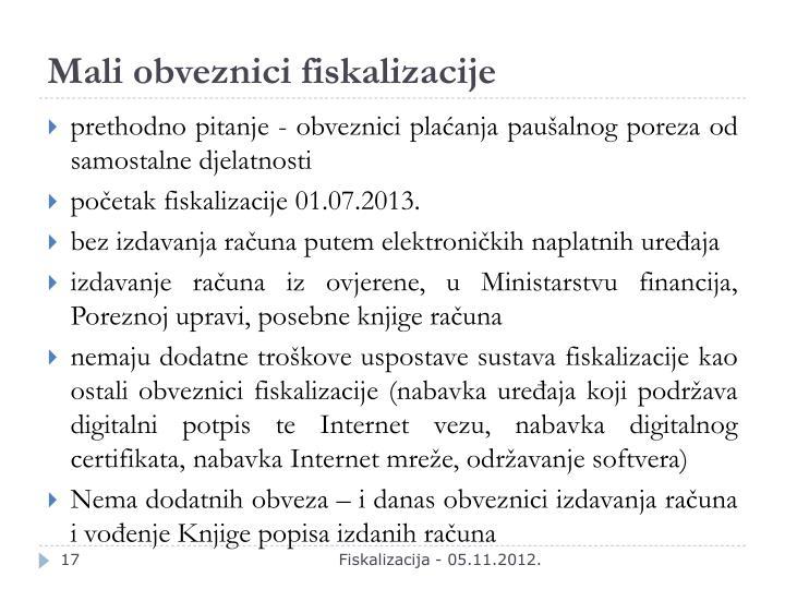 Mali obveznici fiskalizacije