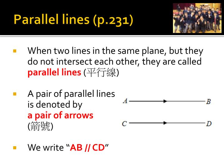 Parallel lines (p.231)