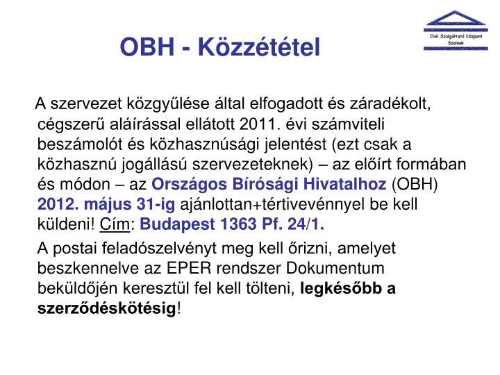 OBH - Közzététel
