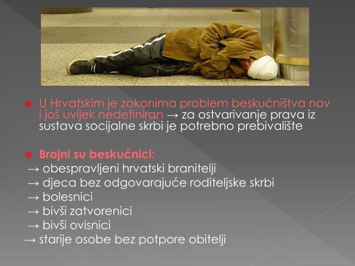 U Hrvatskim je zakonima problem beskućništva nov i još uvijek nedefiniran