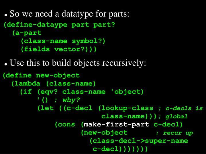 So we need a datatype for parts: