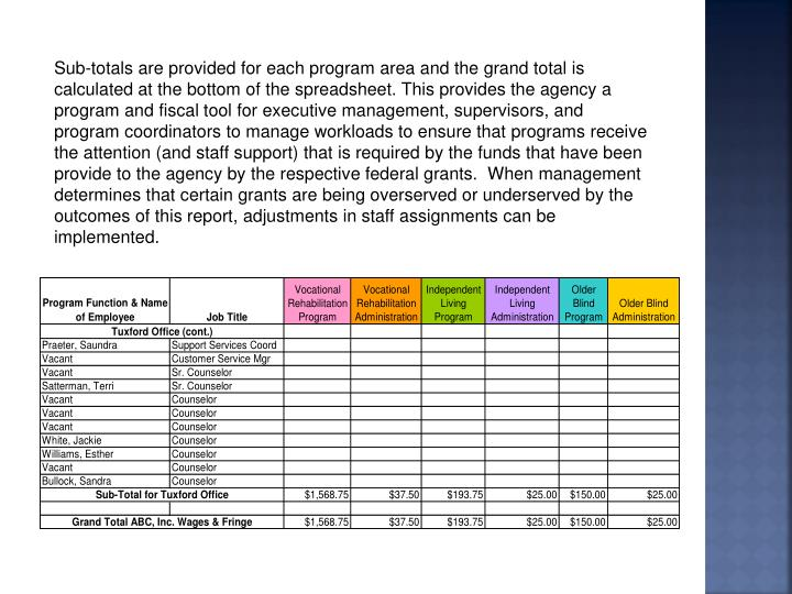 Sub-totals are provided for each program area and the grand total is calculated at the bottom of the spreadsheet. This provides the agency a program and fiscal tool for executive management, supervisors, and program coordinators to manage workloads to ensure that programs receive the attention (and staff support) that is required by the funds that have been provide to the agency by the respective federal grants.  When management determines that certain grants are being overserved or underserved by the outcomes of this report, adjustments in staff assignments can be implemented.