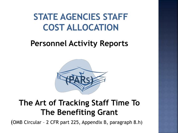 State agencies staff cost allocation