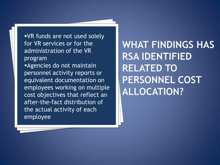 What findings has RSA identified related to PERSONNEL COST ALLOCATION?