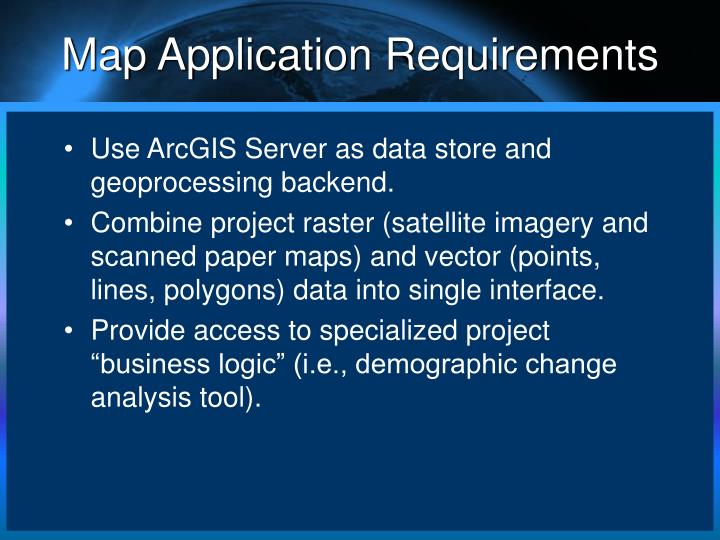 Map Application Requirements