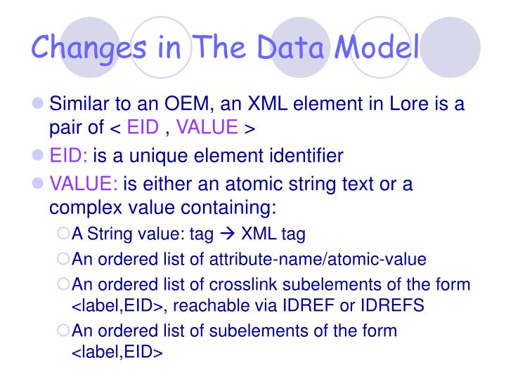 Changes in The Data Model