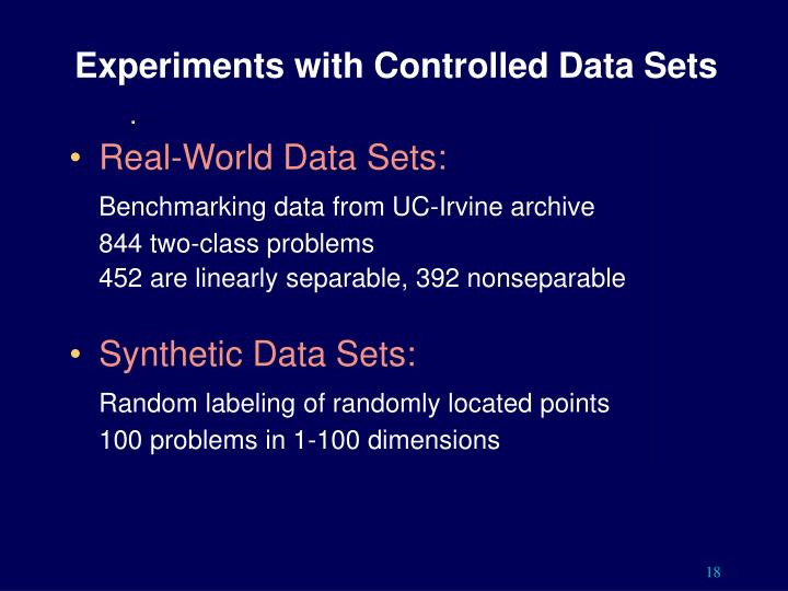 Experiments with Controlled Data Sets