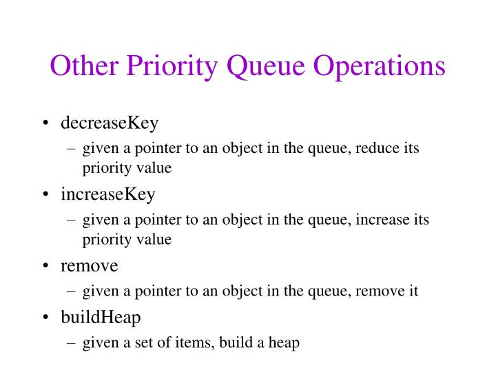 Other Priority Queue Operations