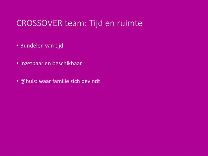 CROSSOVER team: Tijd en ruimte