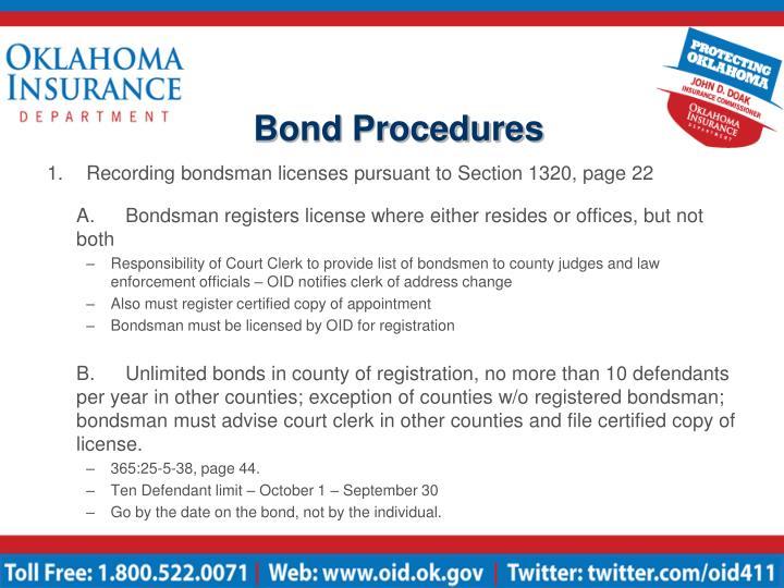 Bond procedures