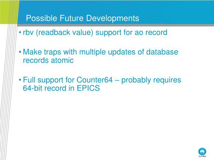 Possible Future Developments