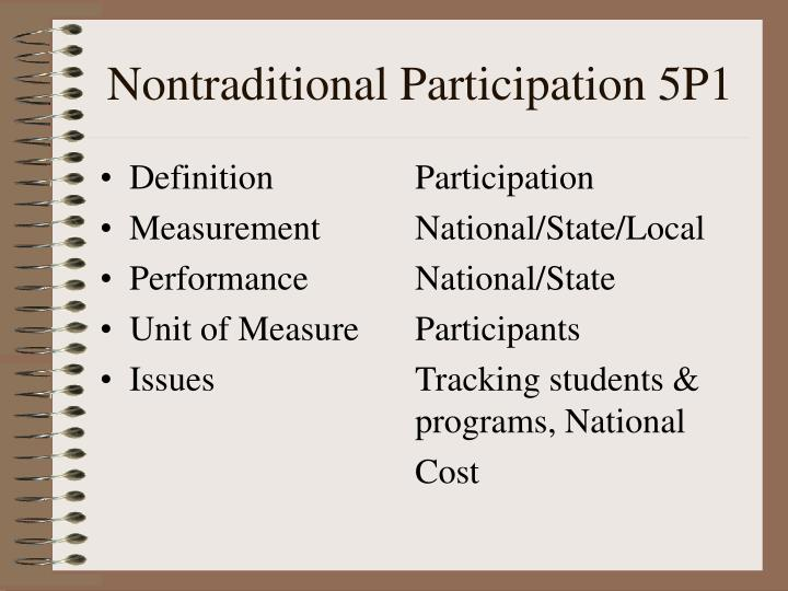 Nontraditional Participation 5P1