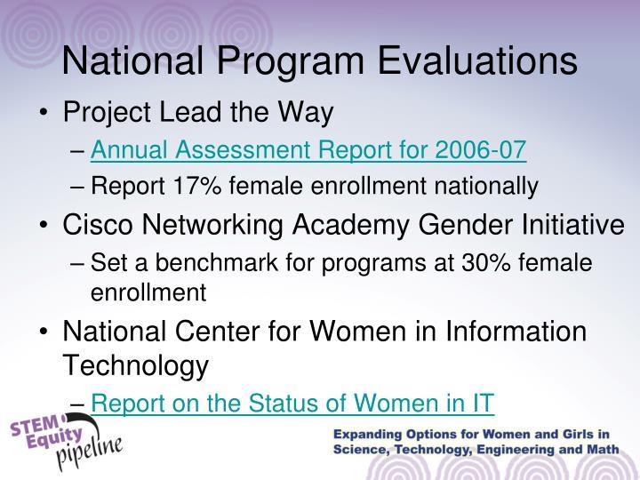 National Program Evaluations