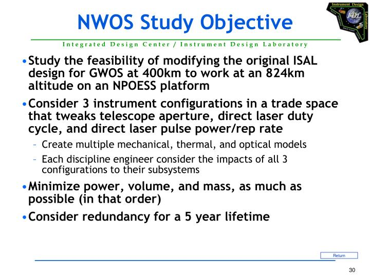 NWOS Study Objective