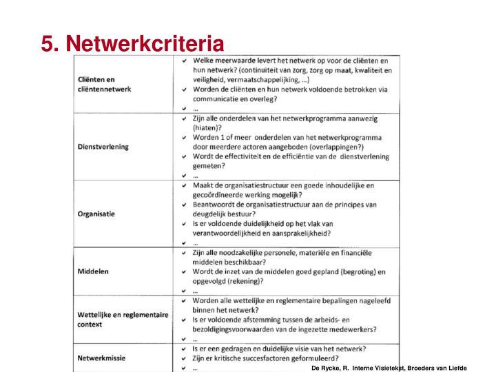 5. Netwerkcriteria