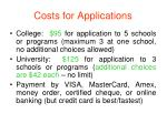 costs for applications