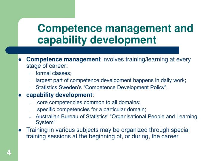 Competence management and capability development