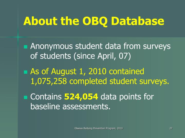 About the OBQ Database