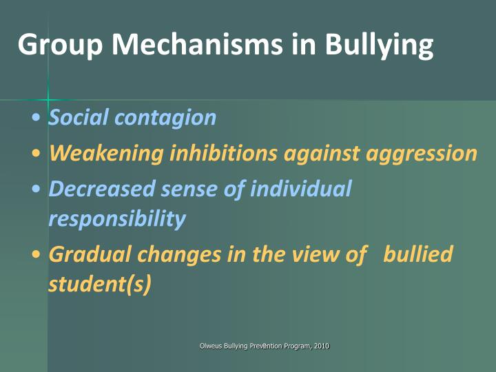 Group Mechanisms in Bullying